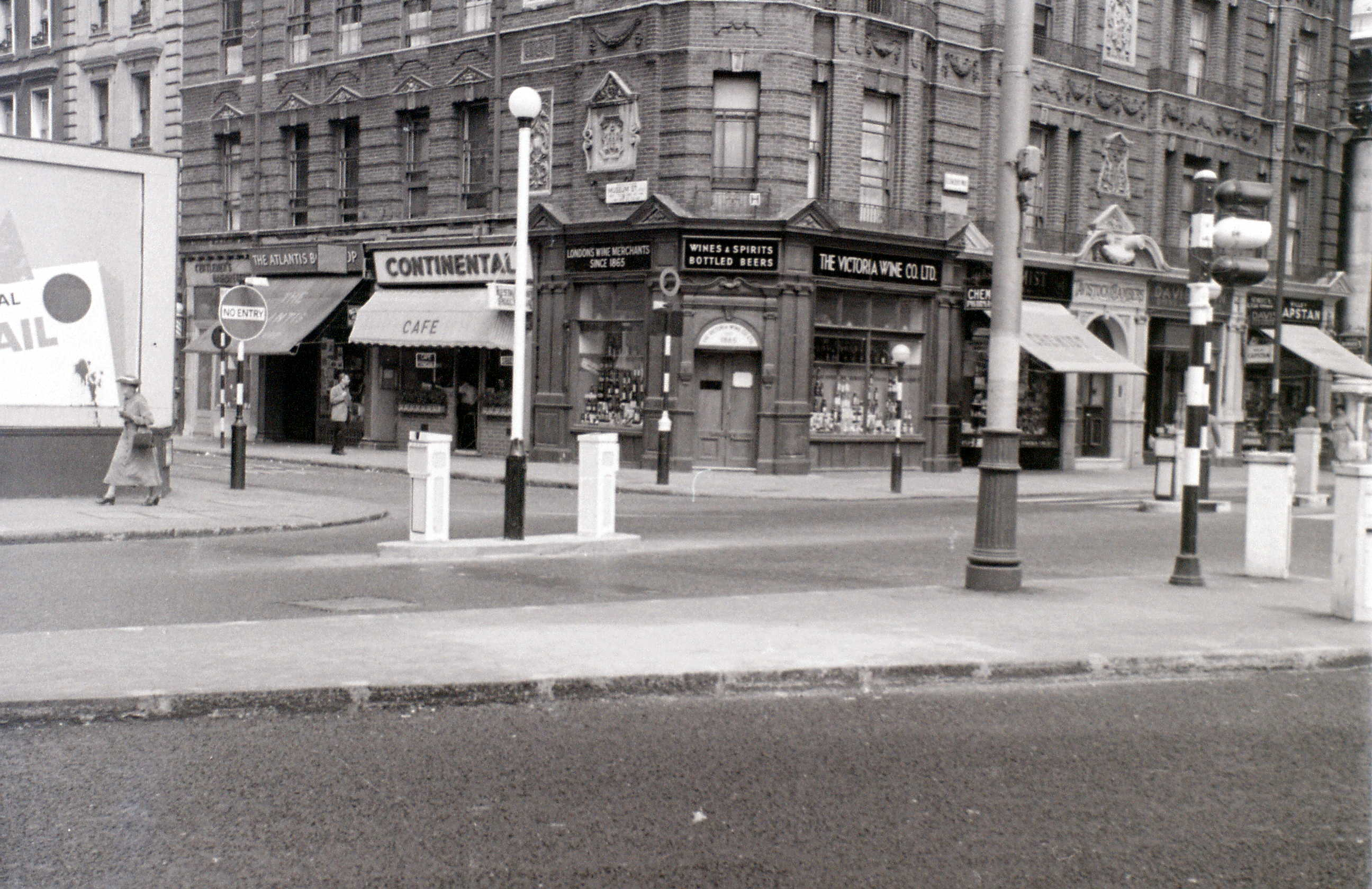Museum Street cnr. New Oxford Street, London, 1 August 1955