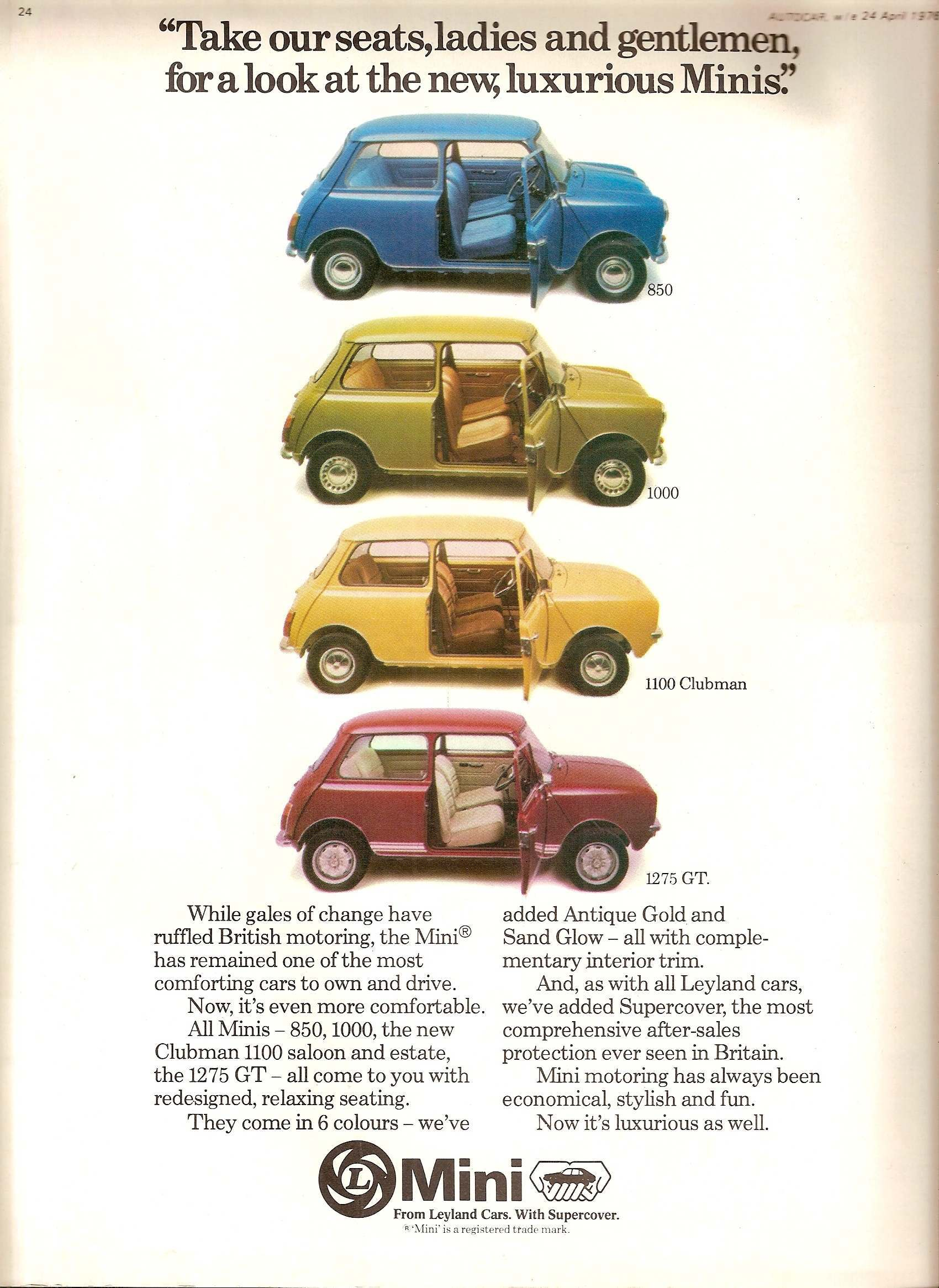 Austin Mini advertising advert seventies