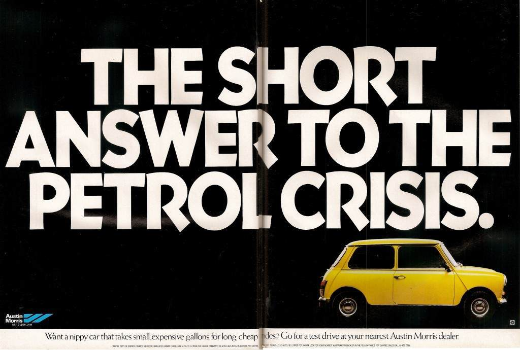 Austin mini advertising petrol crisis