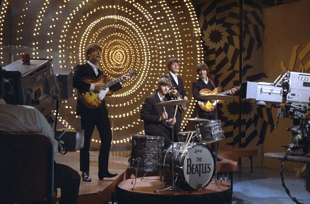 The Beatles perform on Top of the Pops, 16th June, 1966.