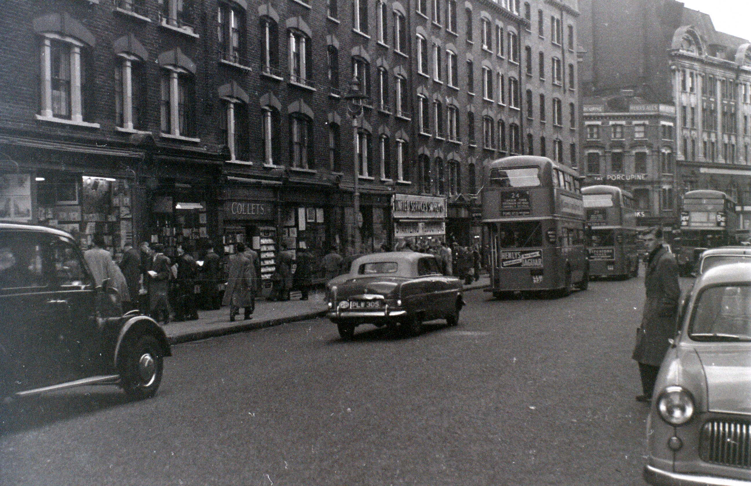 Charing Cross Road, London, 5 November 1955 looking south