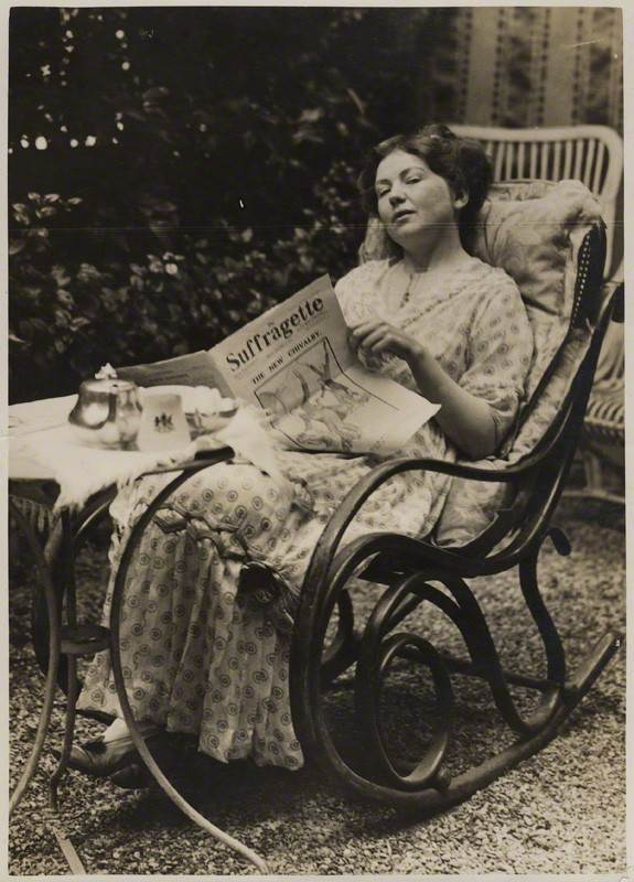 Christabel Pankhurst, September 1913. She approved Richardson's plan to attack the Rokeby Venus.