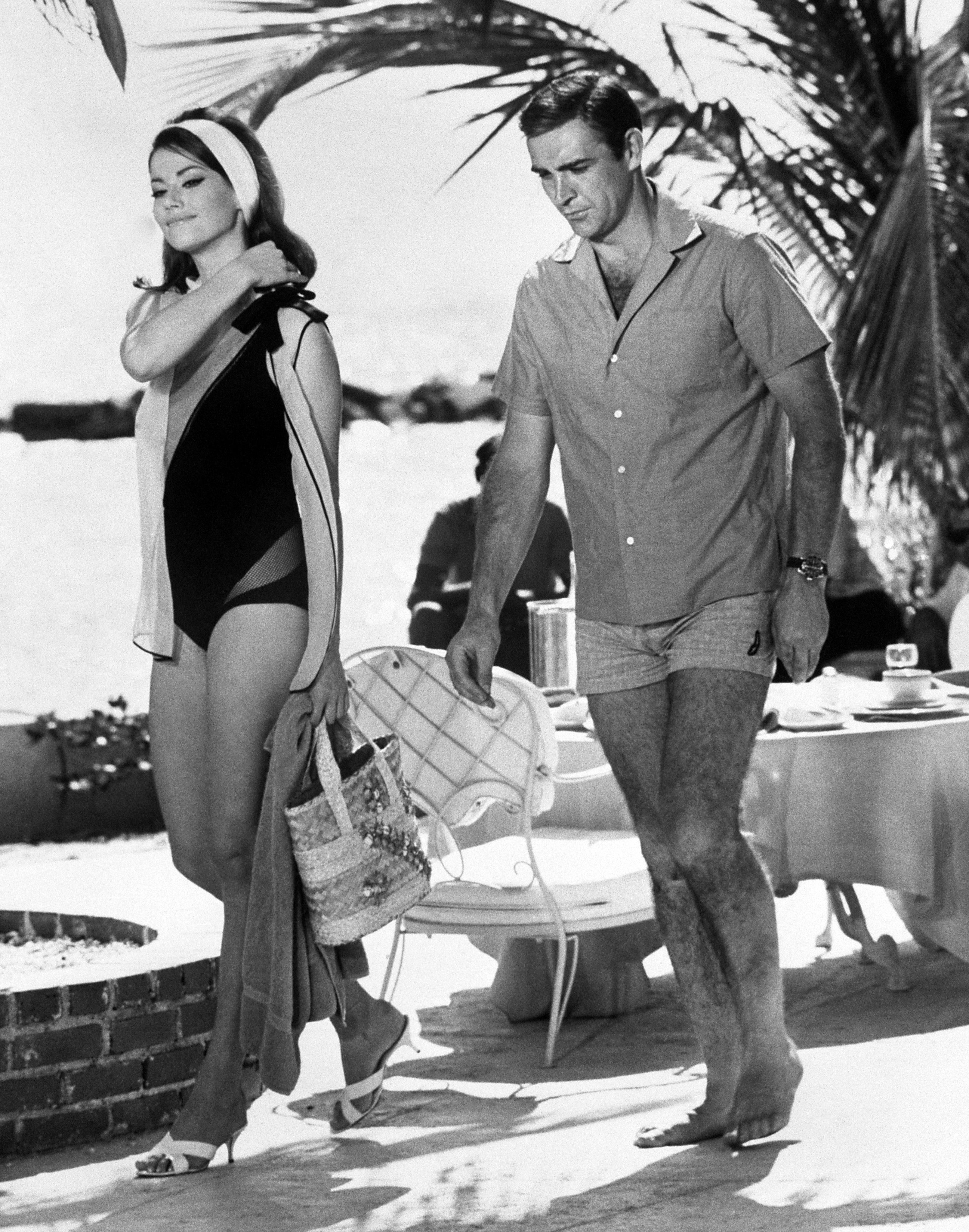 Claudine Auger, and Sean Connery during filming of Thunderball.