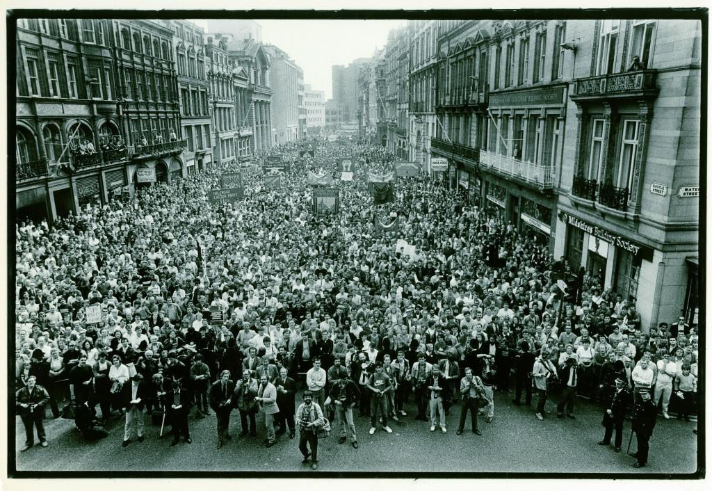 Demo in support of Liverpool Council in 1985.