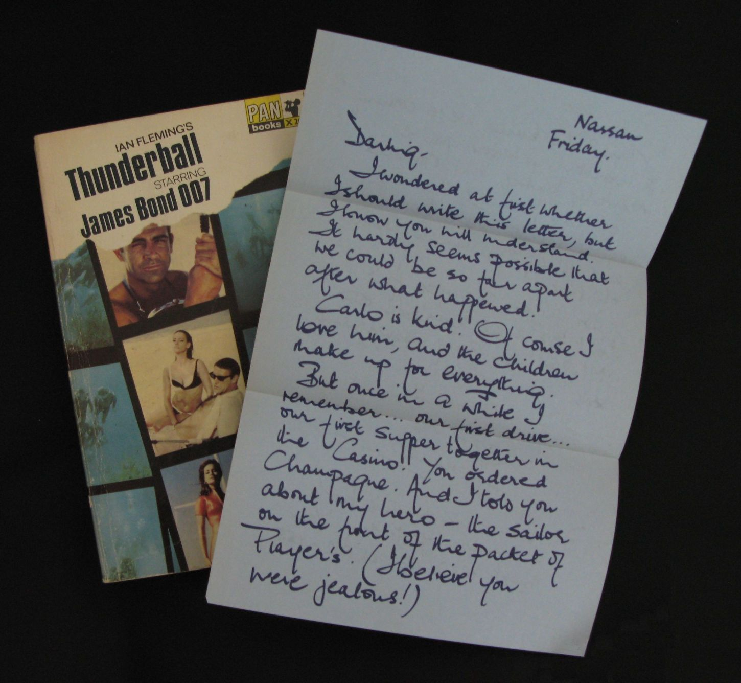 A letter from Domino included in the initial Pan paperback tie in novel. It was in reality an ad for Players cigarettes.