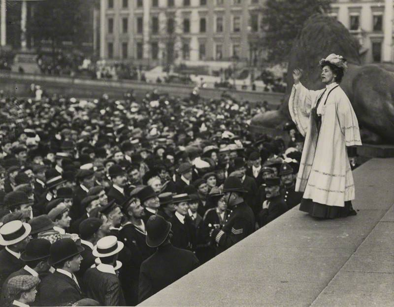Emmeline Pankhurst addressing a Suffragette rally at Trafalgar Square.