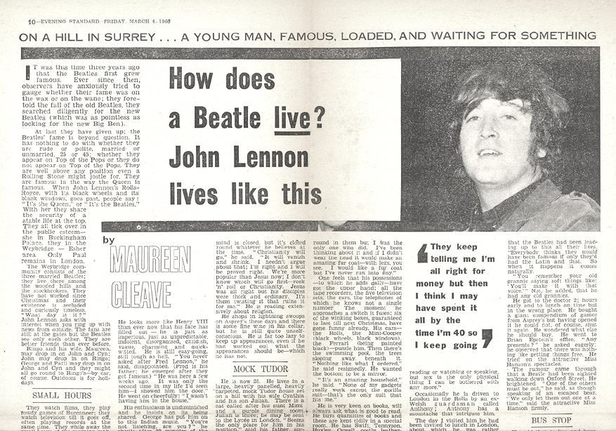 The Maureen Cleave Evening Standard article about John Lennon that appeared in March 1966.