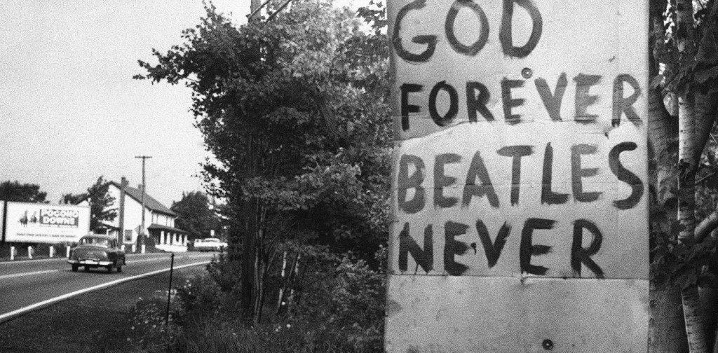 "The Beatles appear to have lost their popularity at Beaver Meadows, a small community in northeastern Pennsylvania according to the sign, ""God Forever, Beatles Never"", posted along Route 93, near Hazleton on August 10, 1966. A proposal in the Pa. legislature asks the ban of any future appearance of the Beatles in this state because of a remark attributed to one of the Beatles that they are more popular than Jesus Christ. (AP Photo)"