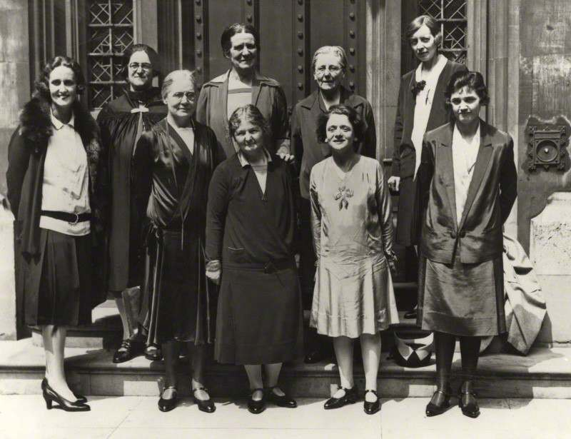The women MPs of the Labour Party in 1929. Cynthia Mosley is on the far left.