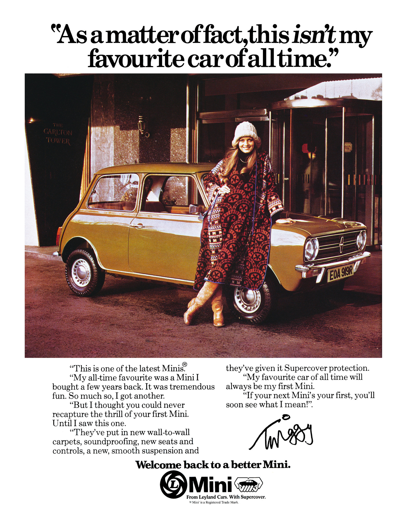 Mini ad with Twiggy from 1977.