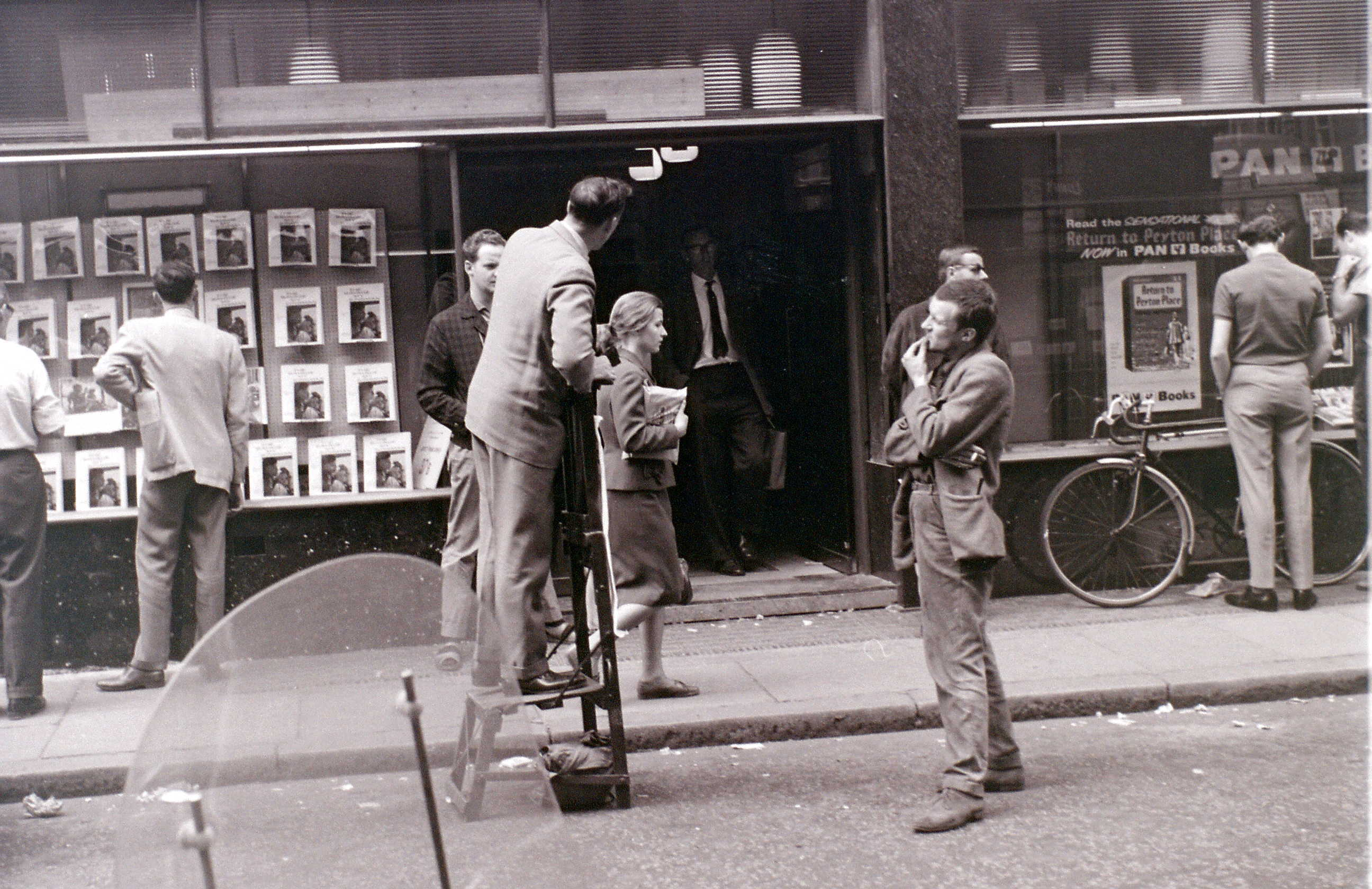 Outside Foyle's Bookshop, Charing Cross Road, London, around mid-1961.