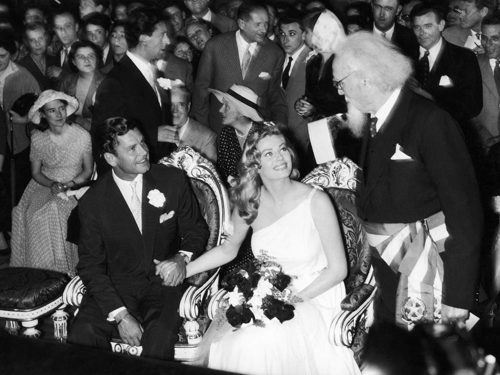 Italy Florence Anita Ekberg and Anthony Steel Wedding