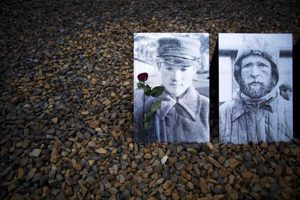 A flower lays in front of portraits of Soviet soldiers at a remembrance site at the Sachsenhausen Nazi death camp on the international Holocaust remembrance day in Oranienburg, Germany, Friday, Jan. 27, 2012. The portraits show Red Army prisoners of war as they arrive at the Sachsenhausen camp. They stand on a stone field marking a barrack that hosted a so called 'neck-shot facility'. More than 10,000 Soviet prisoners of war were killed in this barrack in 1941. The Holocaust remembrance day marks the day of the liberation of the Auschwitz-Birkenau death camp 67-years ago. (AP Photo/Markus Schreiber)