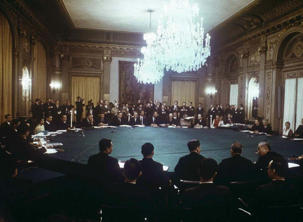 A general view of the peace talks in the conference room at the International Conference Center in Paris, January 25, 1969. (AP Photo)