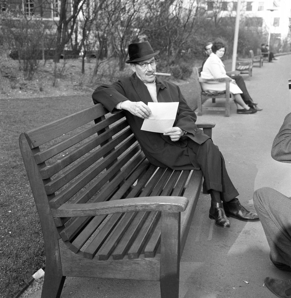 Groucho Marx enjoys the late evening sun in the Embankment Gardens, London. Ref #: PA.4430121  Date: 31/03/1965