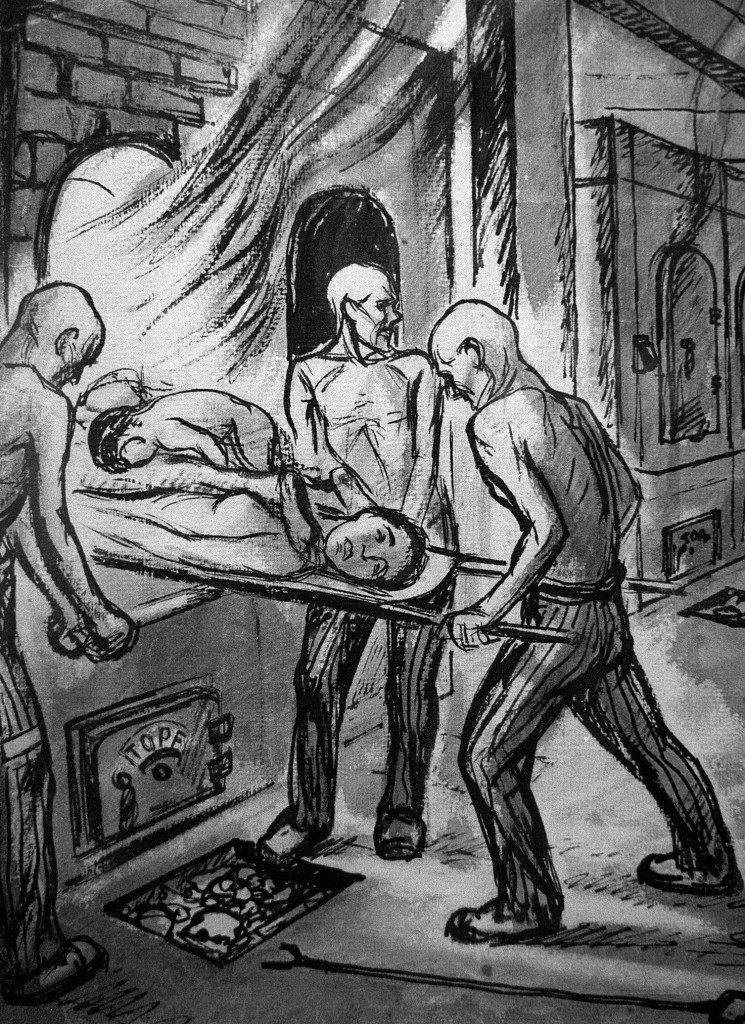 Jewish prisoners insert the bodies of fellow Jews into a furnace in Auschwitz in an ink drawing by Holocaust survivor and artist David Olere. This is one of about 40 ink drawings by the French artist who survived the Sonderkommando, the unit of Jewish prisoners forced to work in the death camp s crematoria. On display at the Yad Vashem Holocaust Memorial in Jerusalem, Olere s pictures are the world s only visual record of the inner workings of the Nazi s factory-like killing machine at Auschwitz. (APPhoto)