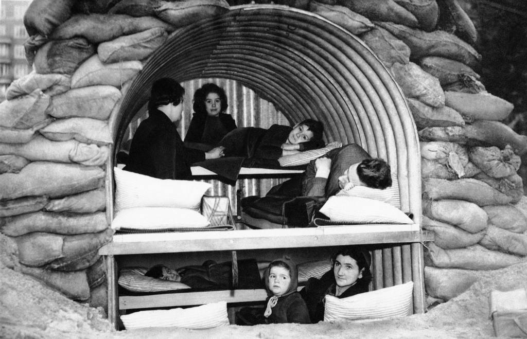 An Anderson shelter fitted with bunks to hold four adults and four children, Oct. 11, 1940. (AP Photo)