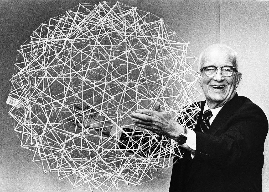 In a Philadelphia, United States, office, on April 18, 1979 R. Buckminster Fuller holds up a Tensegrity sphere - one of his inventions that's inspired a space project. Dr. Ernest Okress of the Franklin Center envisions the structure, made of rods and cables, as the basis for a Spherical Tensegrity Atmospheric Research Station – STARS. A giant Tensegrity sphere could be light and strong enough to support a floating space station a mile in diameter. (AP Photo/WGI)