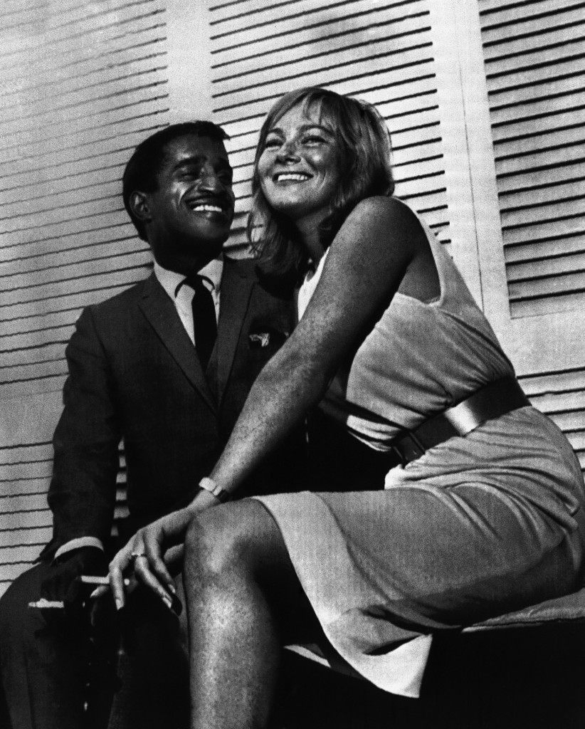 American entertainer Sammy Davis Jr., 34, and Swedish movie actress Mai Britt, 24, pose in a London Hotel, on June 7, 1960, after announcing they plan to marry. The five-foot-six-inch Davis and five-foot-seven actress said they would wed after her divorce from Eddie Gregson becomes final on September 28. (AP Photo)