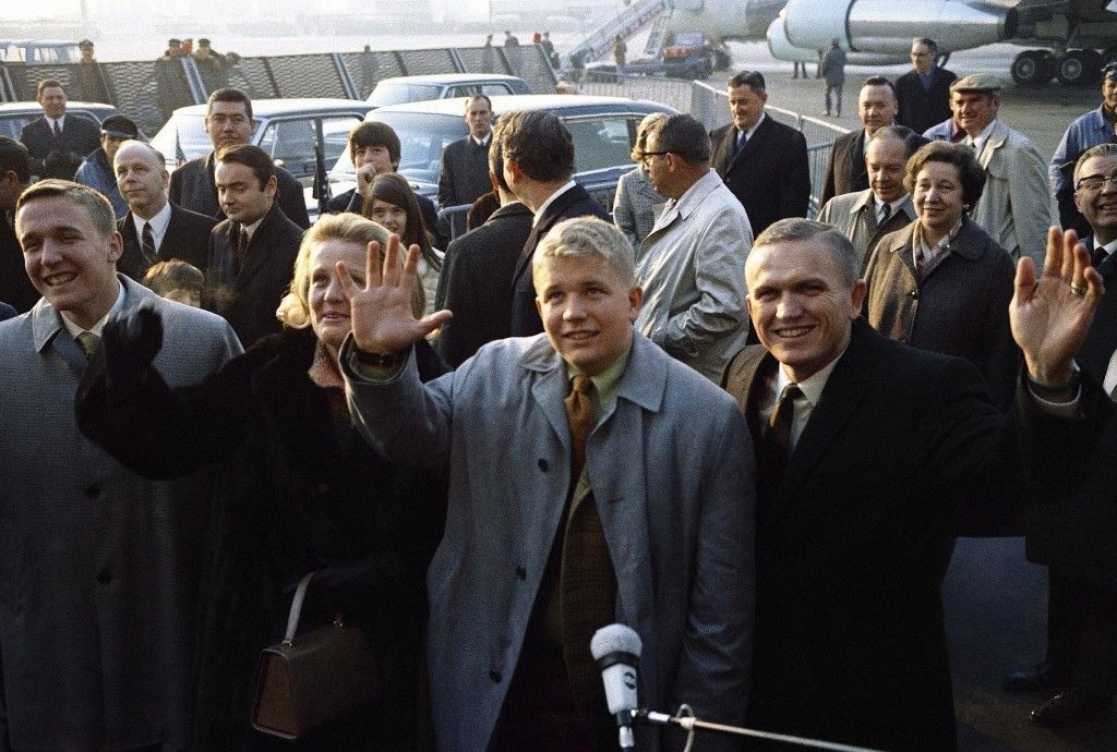 U.S. astronaut Frank Borman, commander of Apollo 8 lunar orbital mission shown with his family upon his arrival at Orly airport in Paris, France, Feb. 5, 1969. Left to right: are Foreground Frederick Borman 17 years old; Mrs. Susan Borman; Edwin Borman, 15-years old. (AP Photo/Laurent)