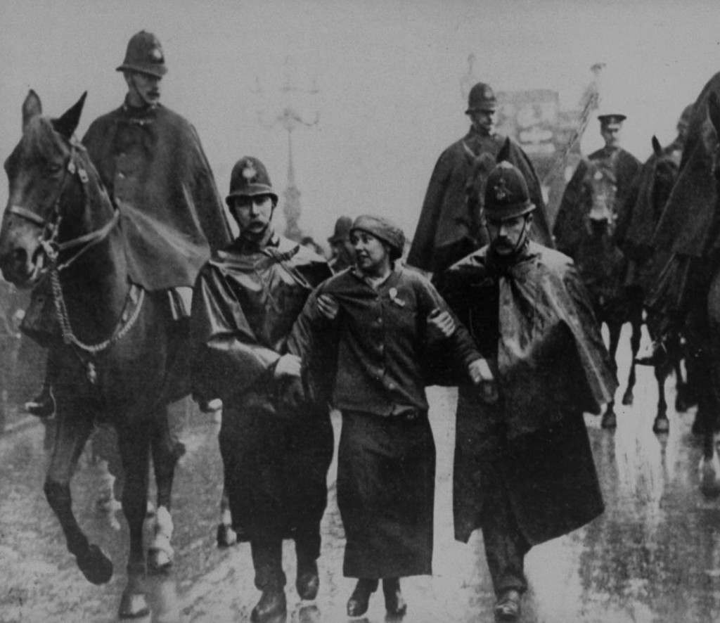Sylvia Pankhurst arrested at Trafalgar Square, 1913