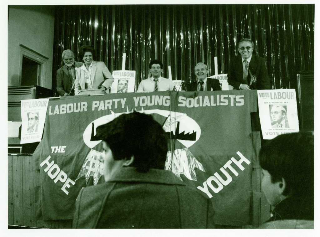 Tony Boothe, Pat Phoenix, Derek Hatton, Tony Benn MP and Terry Fields during Terry's 1983 campaign to be elected to Broadgreen.
