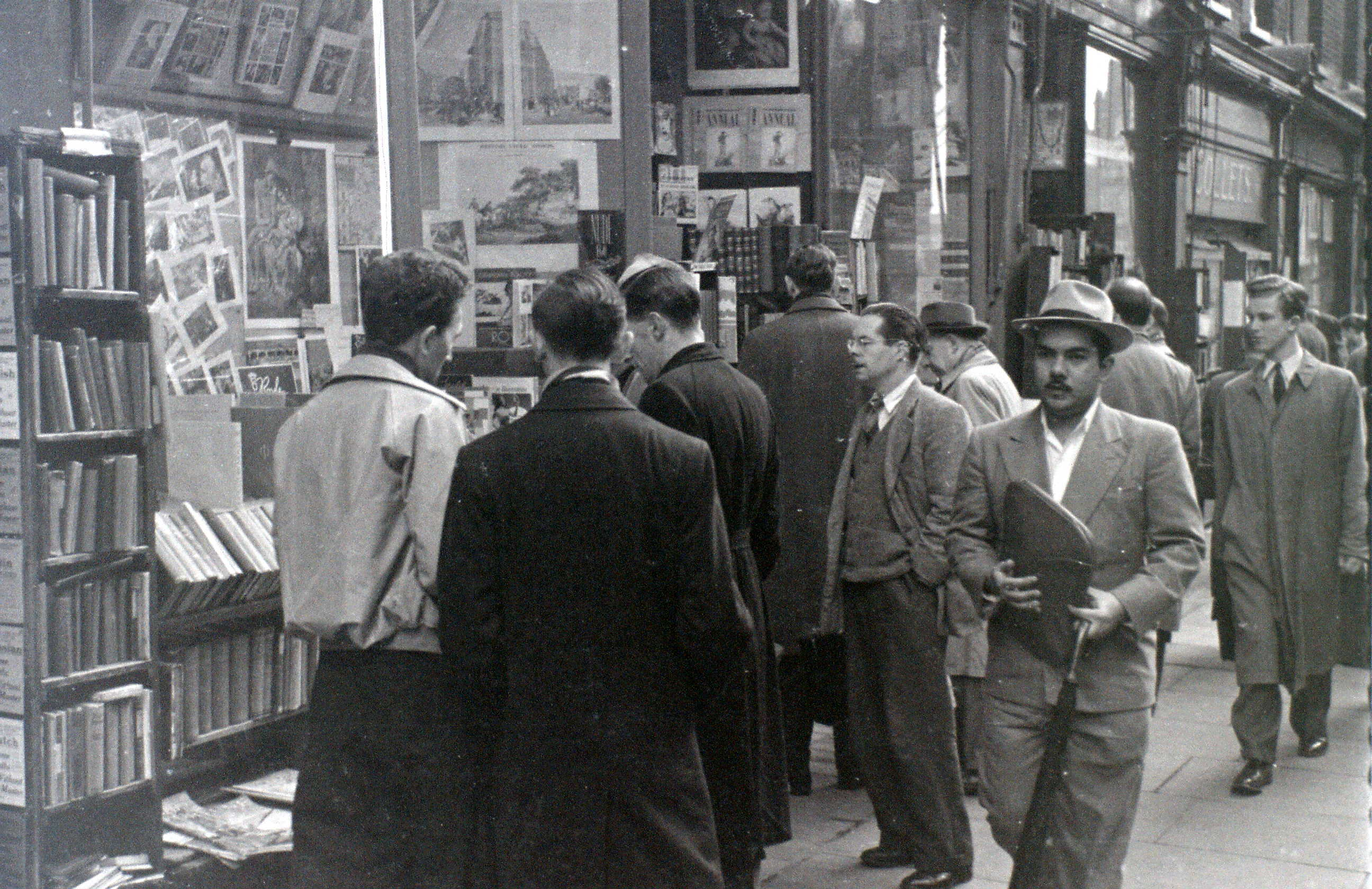 Men outside shop Charing Cross Road, London, 5 November 1955.
