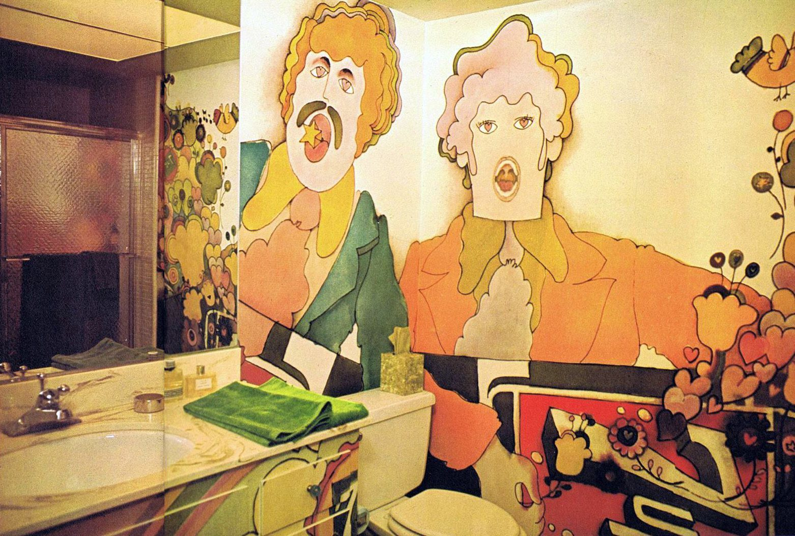 Magical mystery d cor trippy home interiors of the 60s for 60s bathroom decor