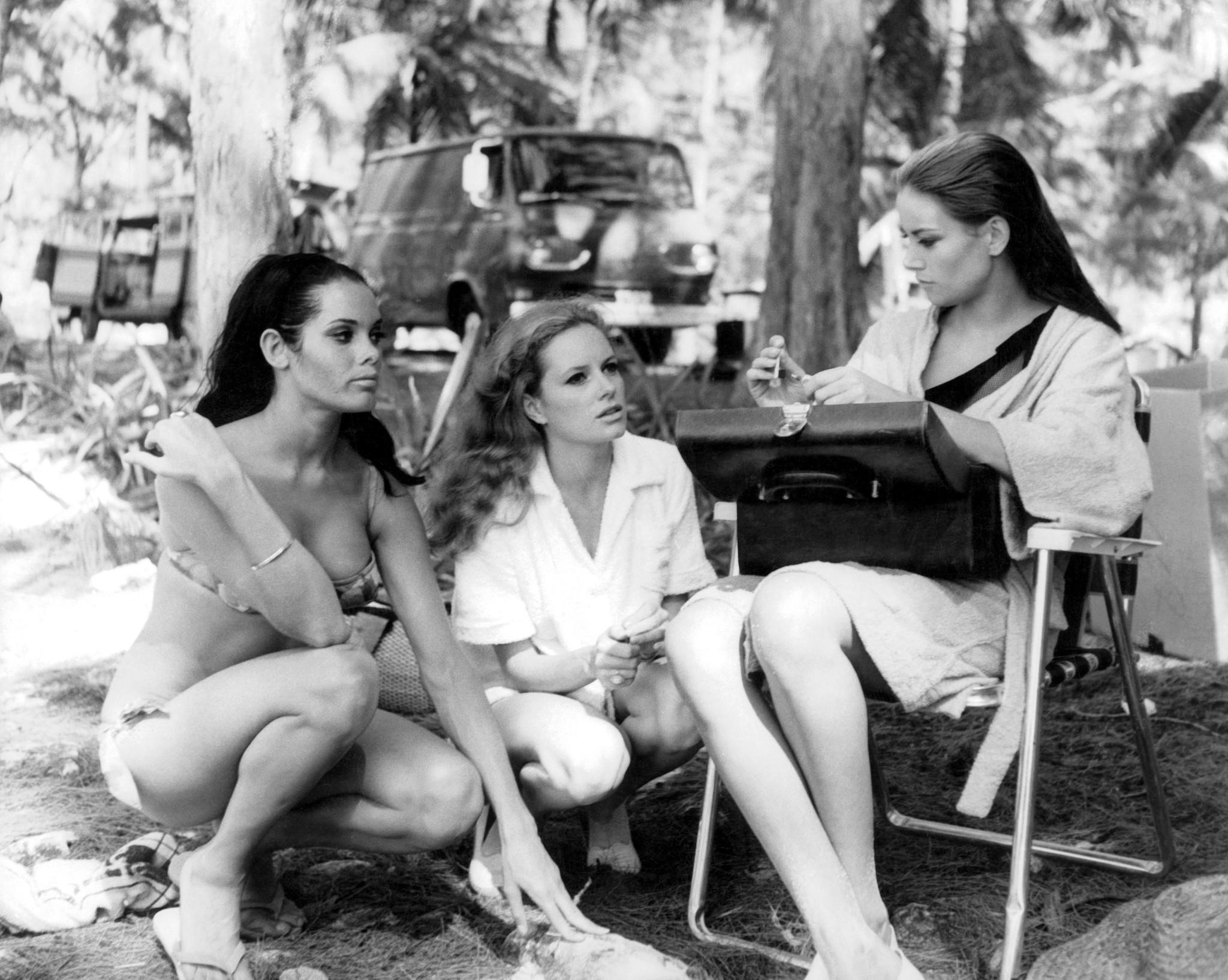 Claudine Auger, Martine Beswick and Luciana Paluzzi behind the scenes.