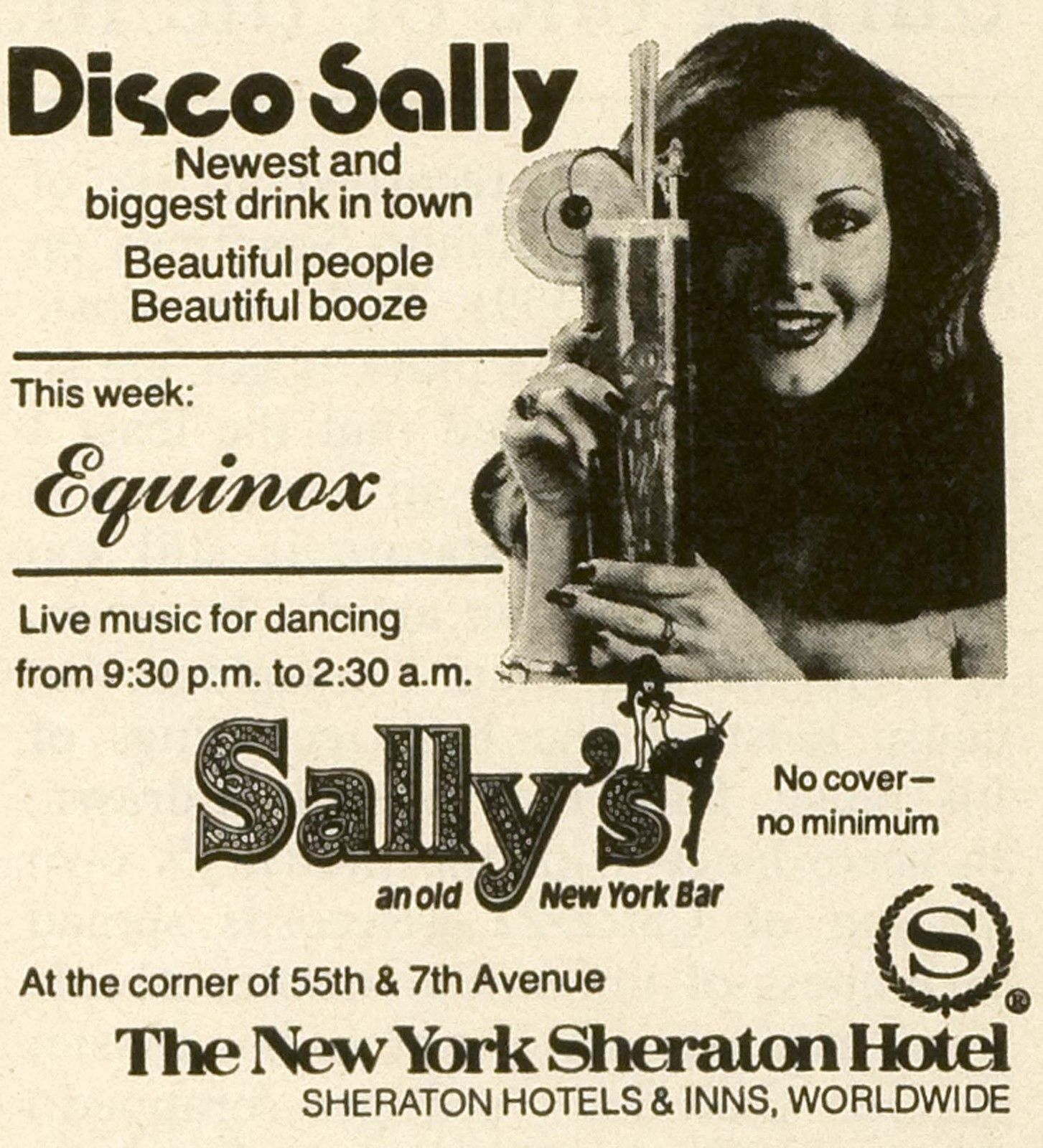 1979 Ad New York Sheraton Hotel Inn Disco Sally Cocktail