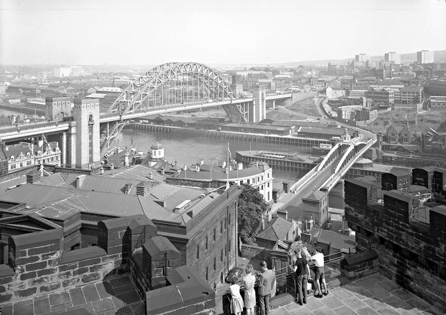 A view of the Tyne Bridge and the Swing Bridge from the Castle Keep, Newcastle upon Tyne, August 1963.
