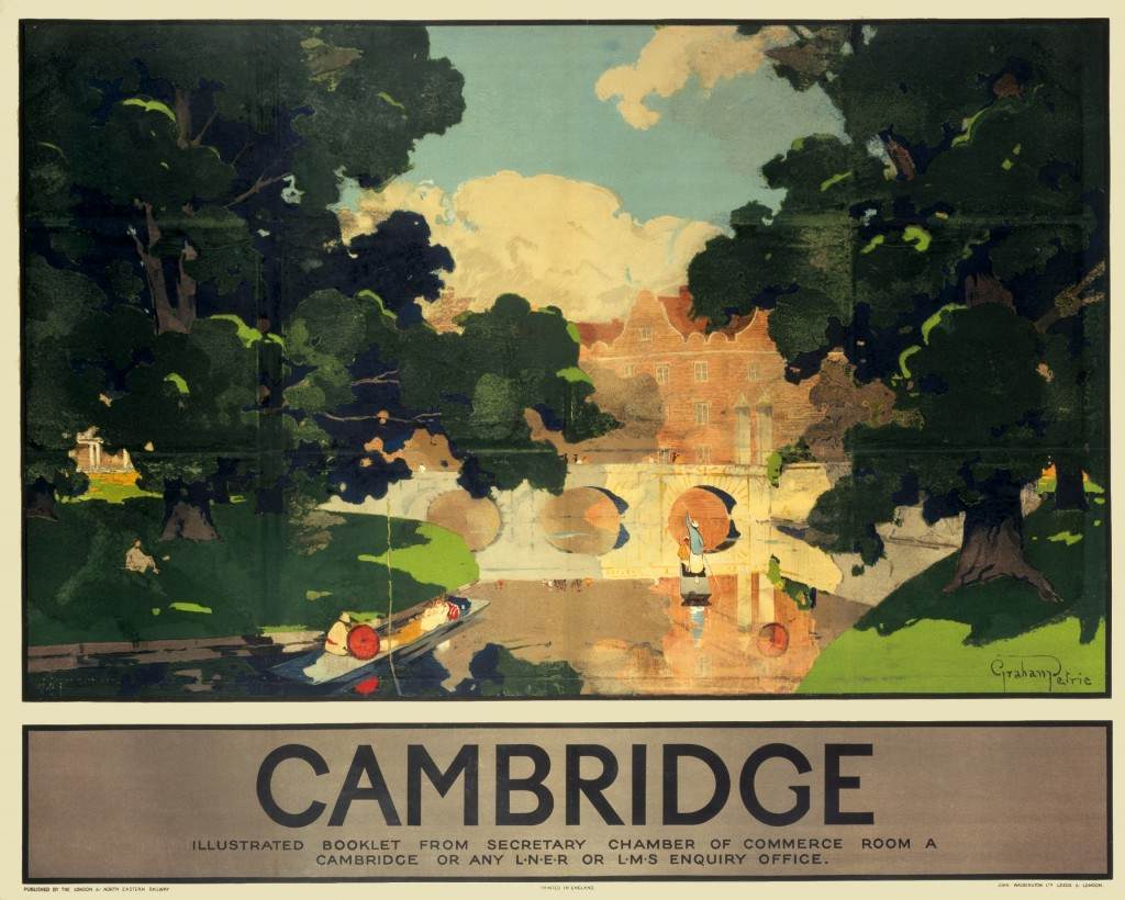 Poster produced for the London & North Eastern Railway (LNER) to promote rail travel to Cambridge. The poster shows a river view of Cambridge. Artwork by Graham Petrie (1859-1940).
