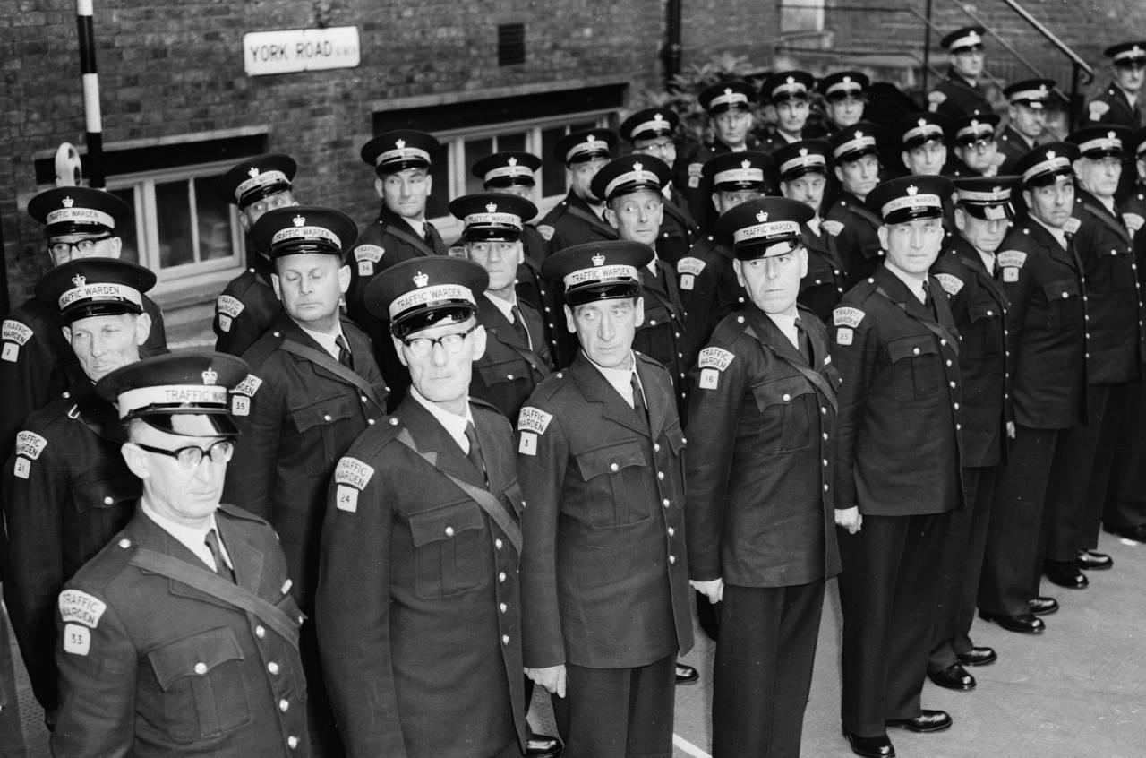 15th September 1960: Forty traffic wardens who are under training at Peel House, London are on parade. They are the first traffic wardens appointed under the Road Traffic and Roads Improvement Act, 1960 and are ready for duty after a fortnights training. (Photo by Ron Case/Keystone/Getty Images)