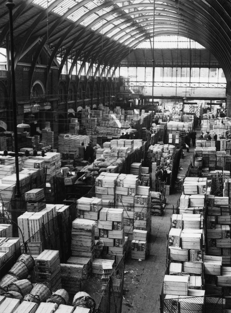 circa 1957: The warehouse at Covent Garden market in London. (Photo by Central Press/Getty Images)