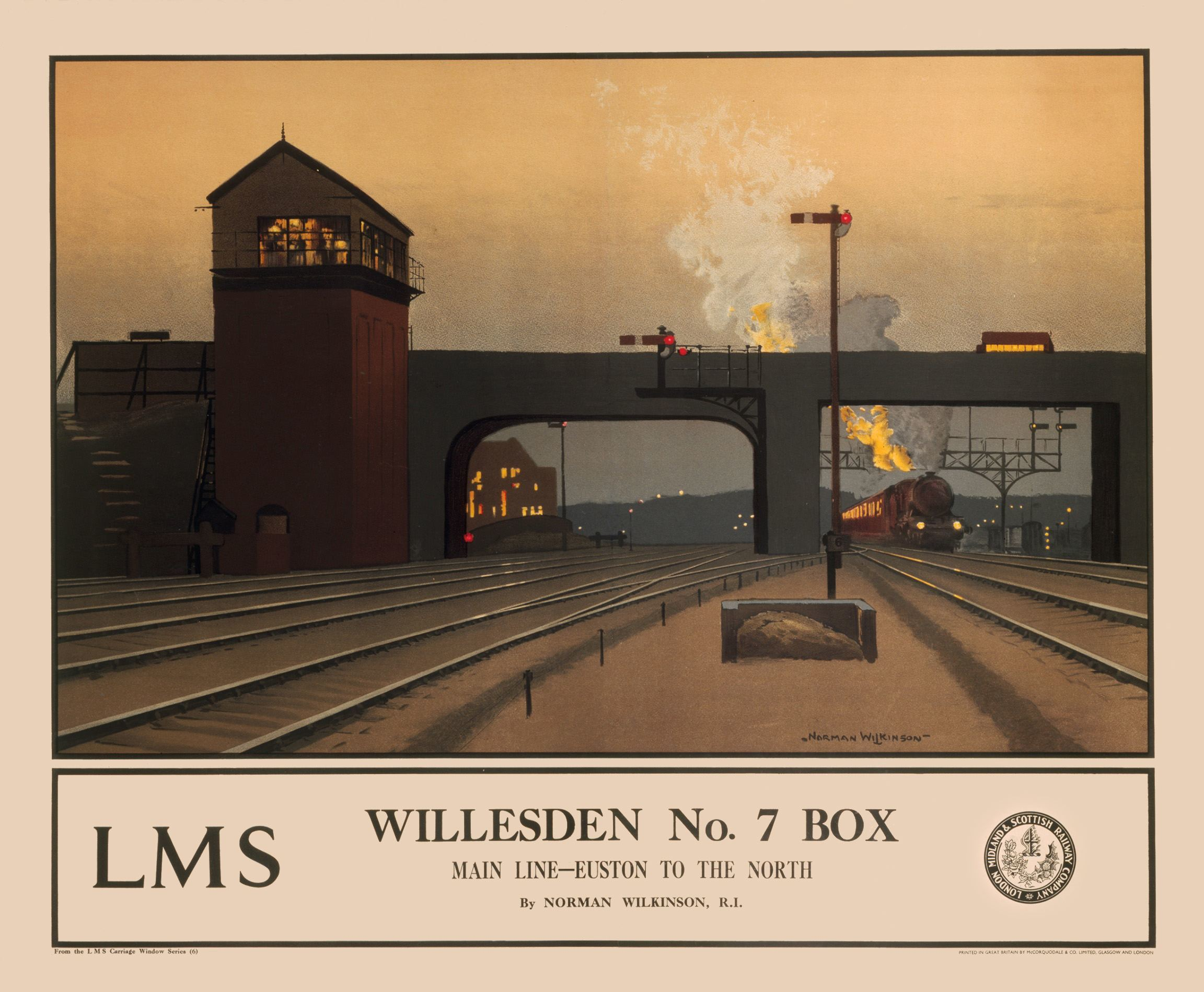 Poster produced for the London Midland & Scottish Railway (LMS). Artwork by Norman Wilkinson.
