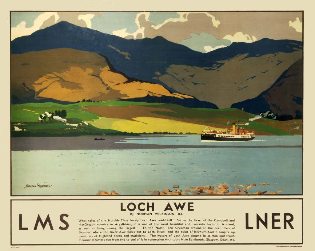 Poster produced for the London, Midland & Scottish Railway (LMS) and the London & North Eastern Railway (LNER), promoting rail travel to Loch Awe in Argyllshire.