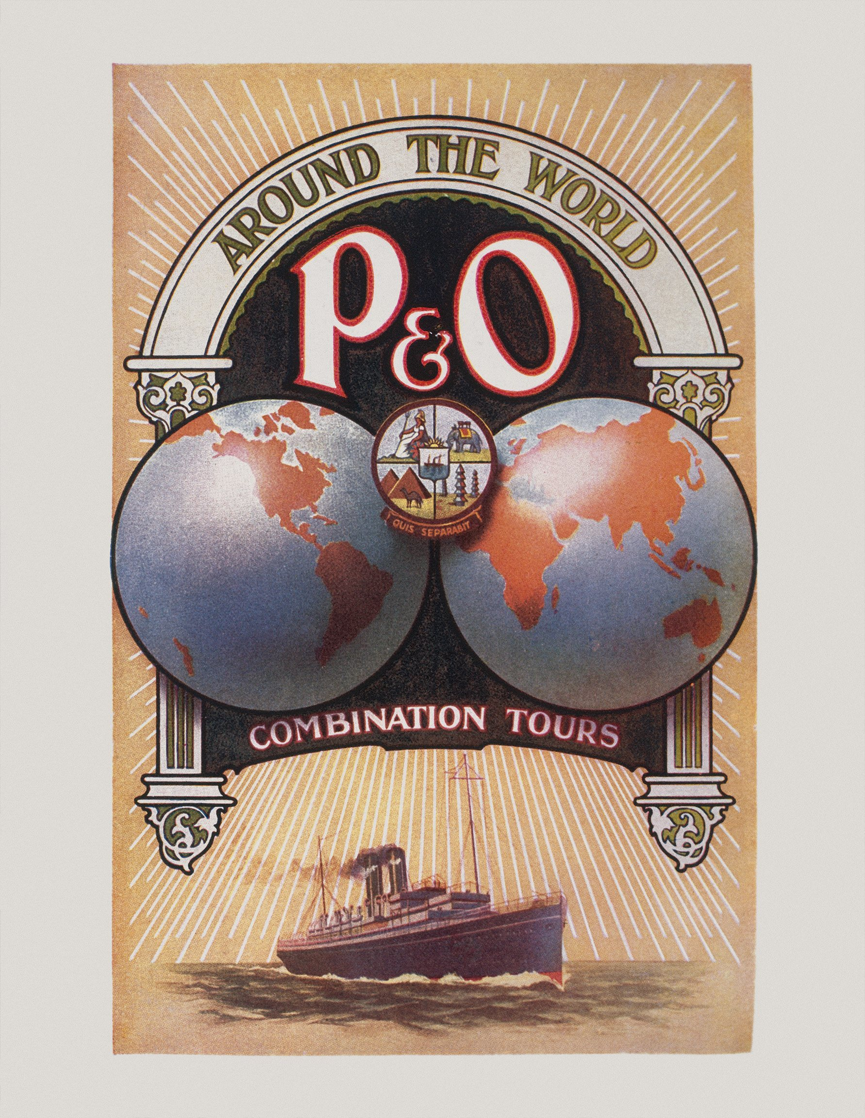 Original brochure for P&O's sailing schedules and 'Combination Tours', issued in 1914. jpg