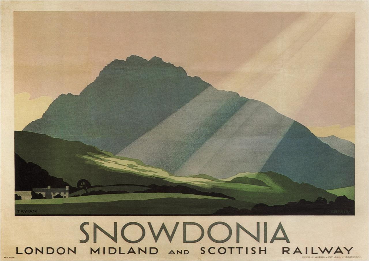 Snowdonia poster for the London, Midland and Scottish Railway.