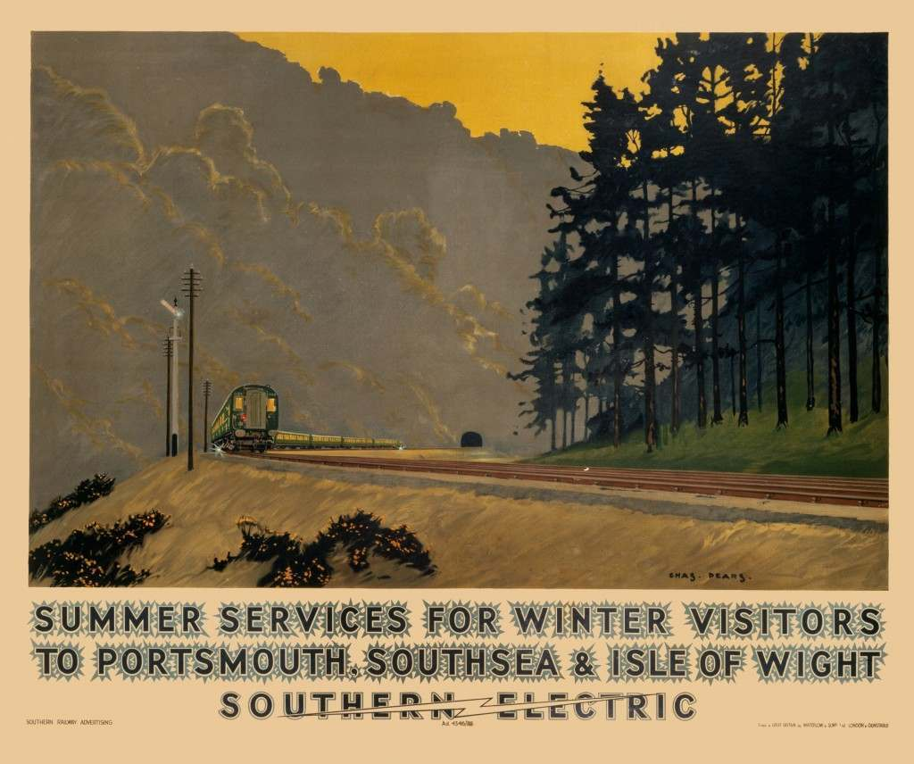 Southern Railways poster promoting rail services to Portsmouth, Southsea and Isle of Wight. Illustrated by Charles Pears in 1937