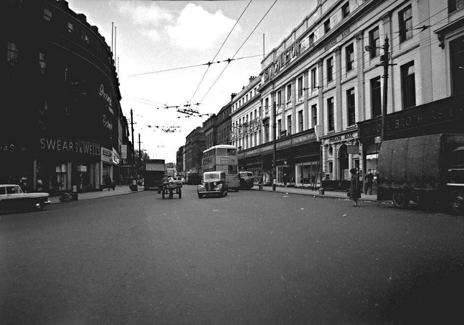 View of Grainger Street near junction of Market St, Newcastle upon Tyne, May 1961.