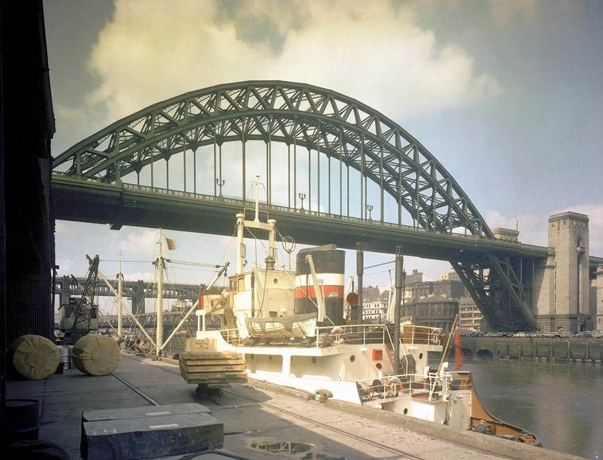 View of the Tyne Bridge from Gateshead Quays, July 1960.