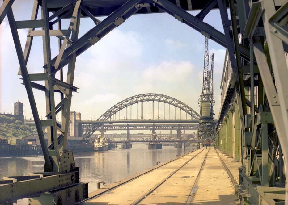View of the Tyne Bridge from the Quayside, Newcastle upon Tyne, July 1960.