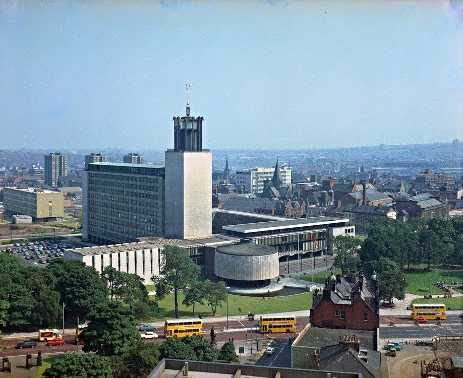 View of the new Civic Centre, Newcastle upon Tyne, taken from the roof of Newcastle University, July 1969.
