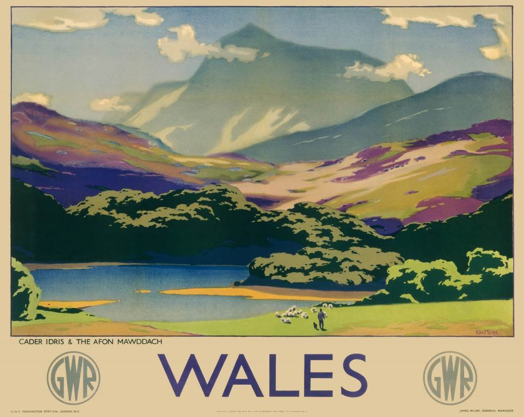 Poster produced for Great Western Railway (GWR) to promote rail travel to Wales. The poster shows a view of Cader Idris and Afon Mawddach. Artwork by Sir Herbert Alker Tripp (1883-1954), who had a long and successful career with New Scotland Yard and painted in his spare time and after his retirement.