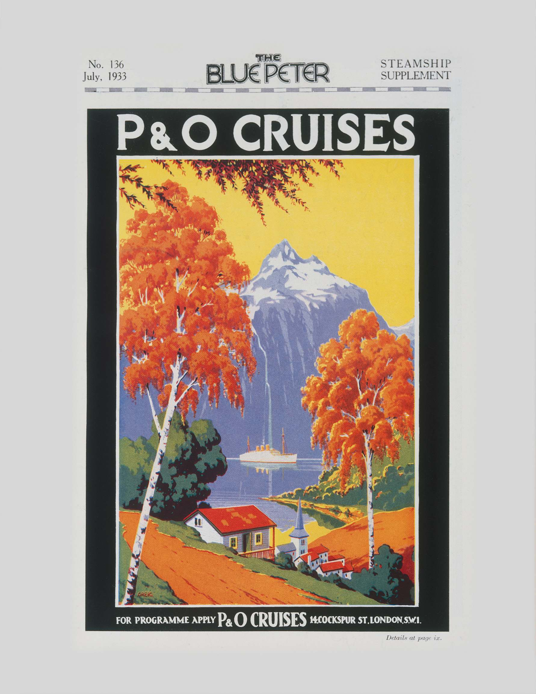advertisement for cruises to Norway published in The Blue Peter magazine in 1933