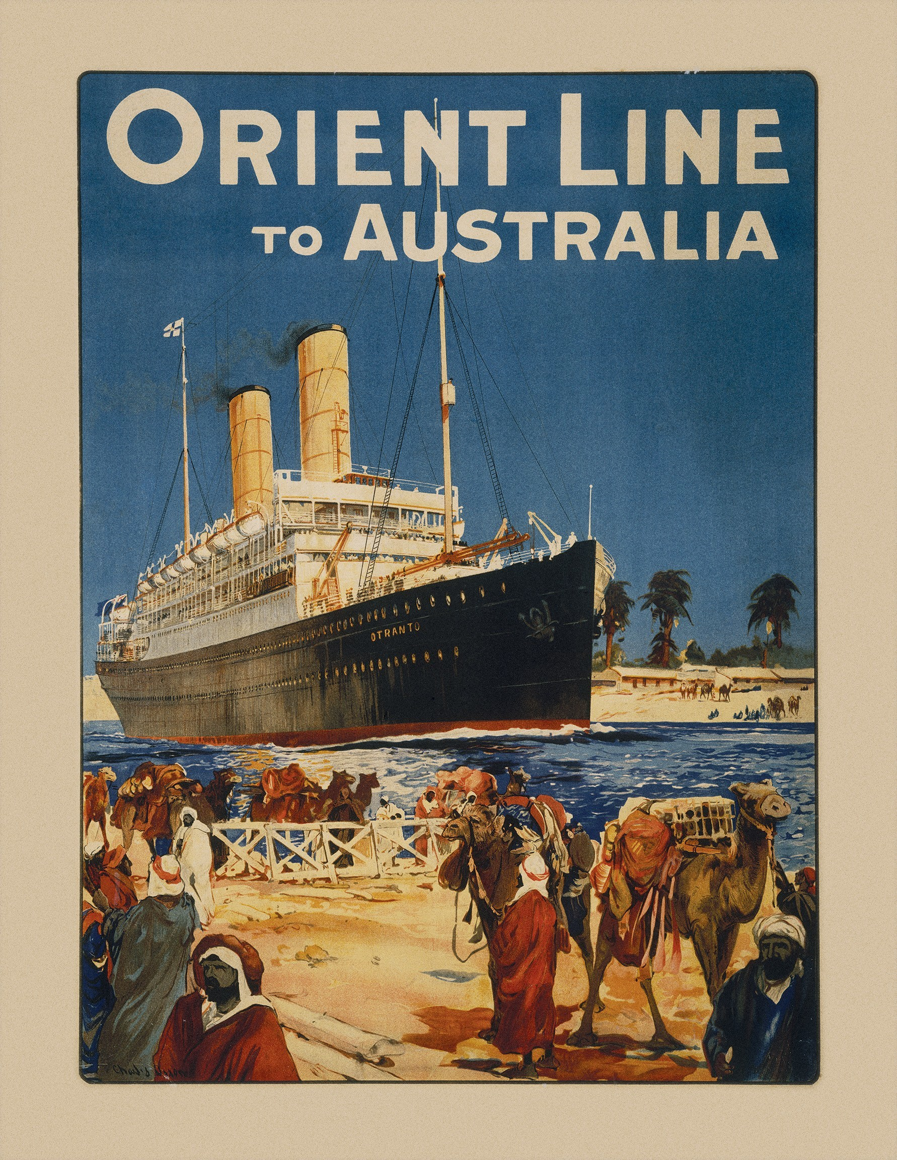 poster for Orient Line service to Australia featuring Otranto in the Suez Canal, lithograph, c.1912