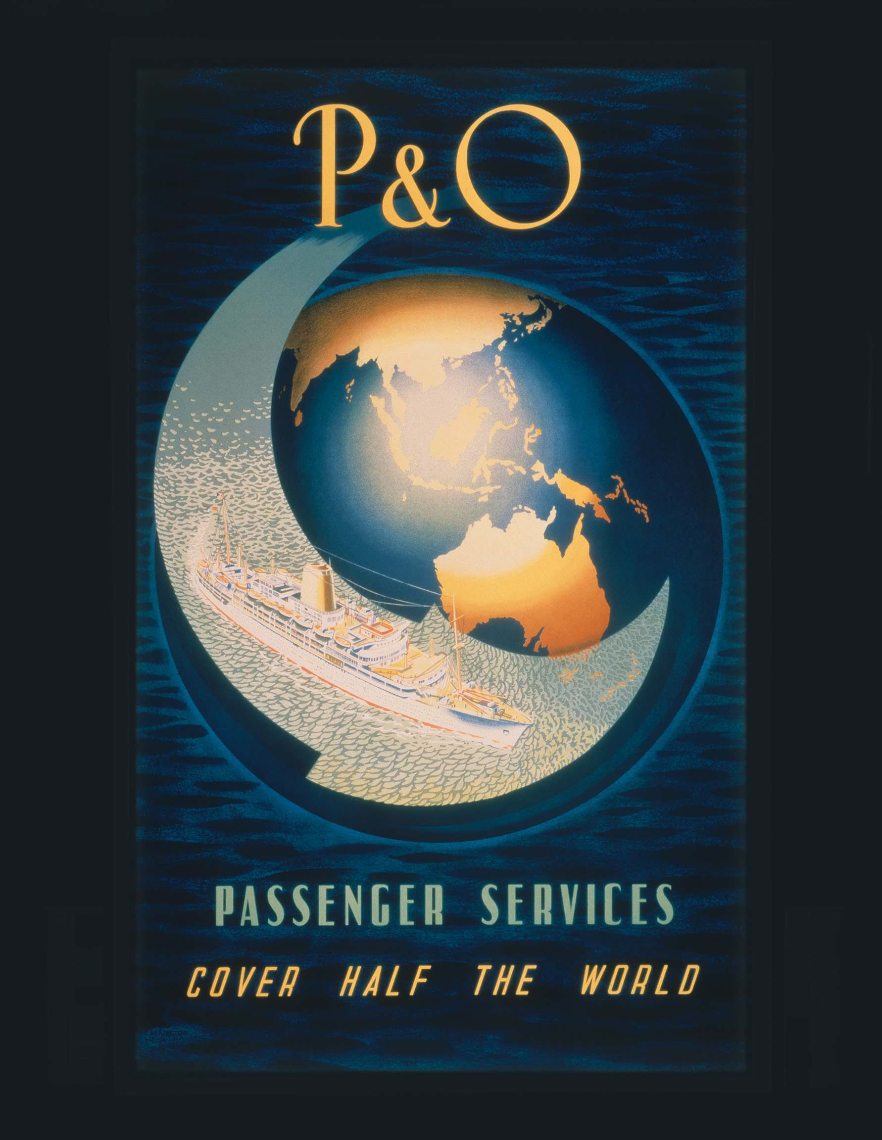 poster for P&O's service to Australia featuring the new Iberia, lithograph, 1954
