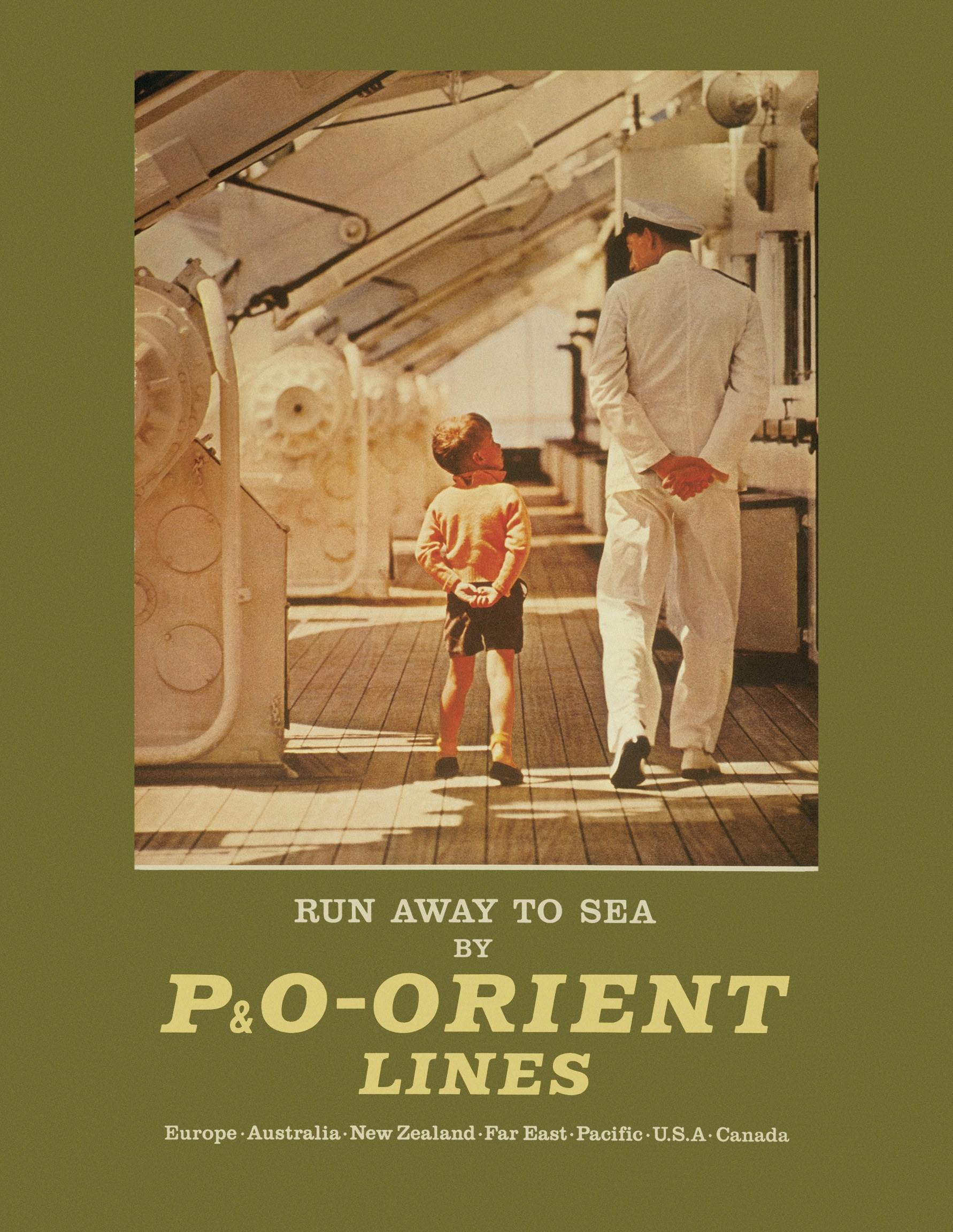 poster for P&O-Orient Line, photographed on board Oronsay, reprinted c.1961