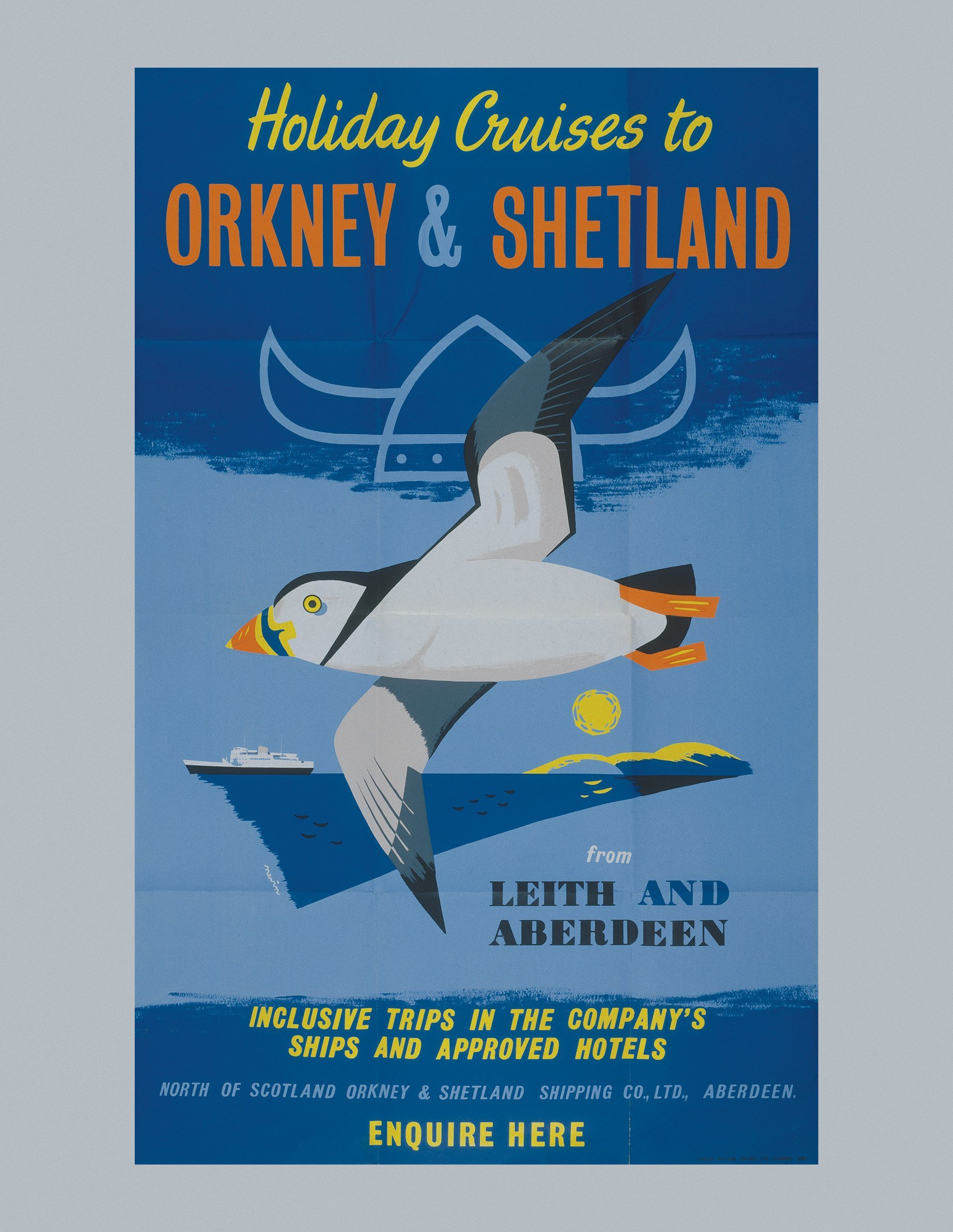poster for cruises with the North of Scotland, Orkney & Shetland Shipping Co. Ltd., lithograph, 1950s