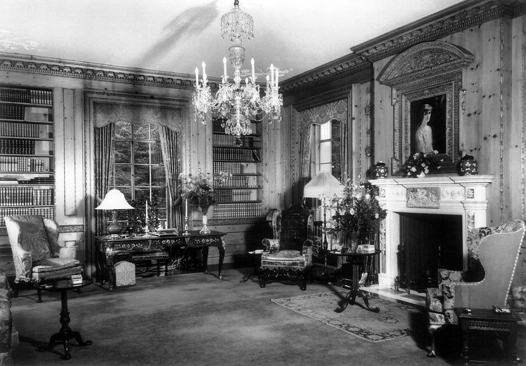 The library at Bellosguardo, the Clark summer home in Santa Barbara, California, c. 1940. The hundreds of bound leather volumes include works by Dante, Goethe, Homer, Virgil, Maupassant, Dickens, Tennyson, Thackeray, Voltaire, Faust, Milton, Cervantes, Conrad. Although no one from the immediate family has visited since the early 1950s, the house man dusts and turns the books periodically.